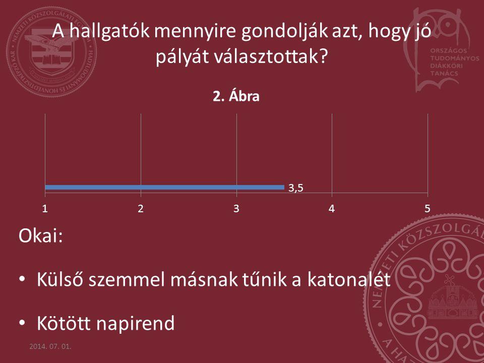 Okai: • Külső szemmel másnak tűnik a katonalét • Kötött napirend 2014. 07. 01. A hallgatók mennyire gondolják azt, hogy jó pályát választottak?