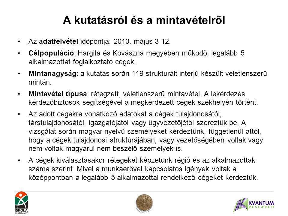 A kutatásról és a mintavételről •Az adatfelvétel időpontja: 2010. május 3-12. •Célpopuláció: Hargita és Kovászna megyében működő, legalább 5 alkalmazo