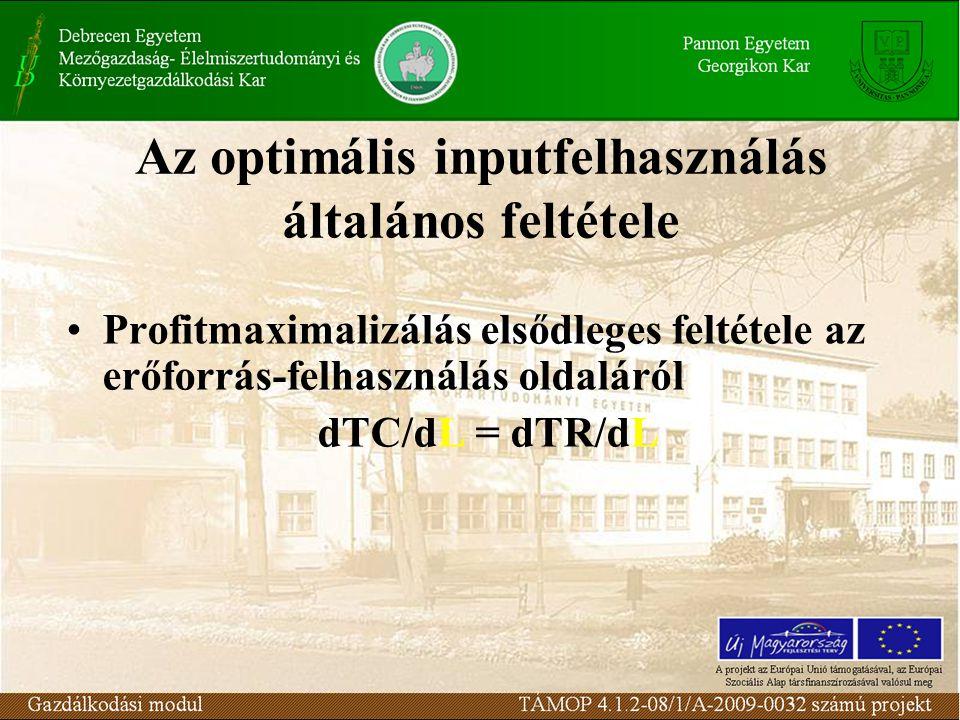 Az optimális inputfelhasználás általános feltétele •Profitmaximalizálás elsődleges feltétele az erőforrás-felhasználás oldaláról dTC/dL = dTR/dL