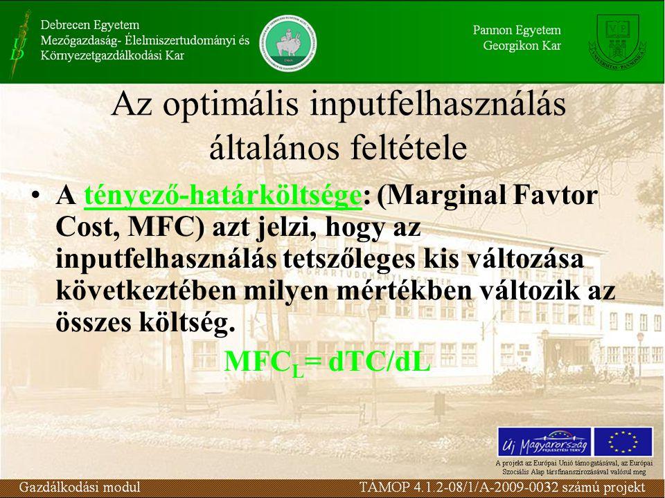Az optimális inputfelhasználás általános feltétele •A tényező-határköltsége: (Marginal Favtor Cost, MFC) azt jelzi, hogy az inputfelhasználás tetszőle