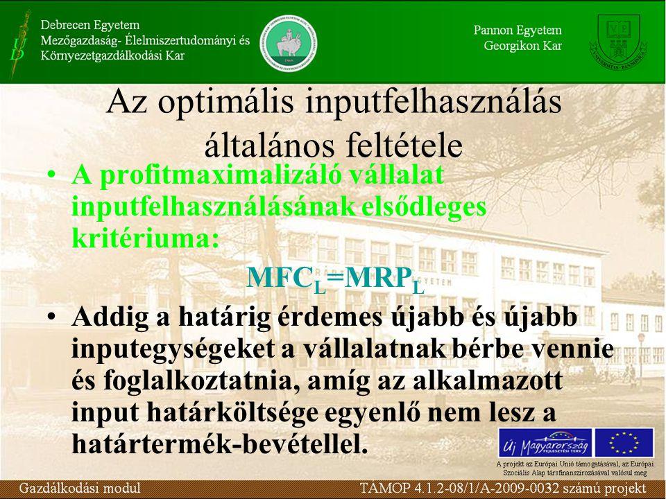 Az optimális inputfelhasználás általános feltétele •A profitmaximalizáló vállalat inputfelhasználásának elsődleges kritériuma: MFC L =MRP L •Addig a h