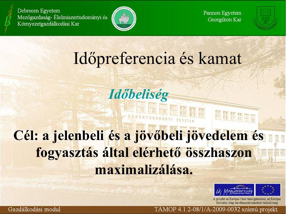 Időpreferencia és kamat Időbeliség Cél: a jelenbeli és a jövőbeli jövedelem és fogyasztás által elérhető összhaszon maximalizálása.