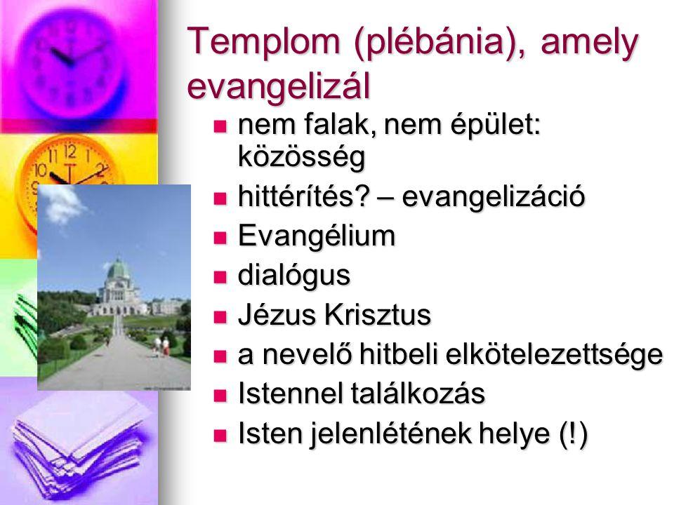 Templom (plébánia), amely evangelizál  nem falak, nem épület: közösség  hittérítés? – evangelizáció  Evangélium  dialógus  Jézus Krisztus  a nev