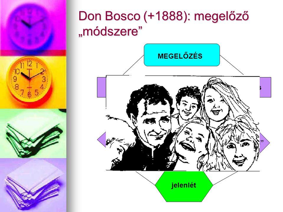 """Don Bosco (+1888): megelőző """"módszere"""" MEGELŐZÉS aktuális jelenlét aktuális """"virtuális"""" szeretetteljesség mentalitás"""