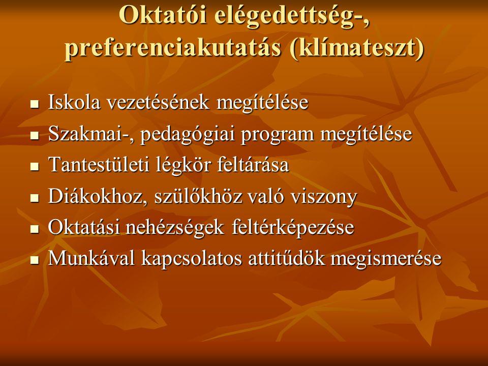 Oktatói elégedettség-, preferenciakutatás (klímateszt)  Iskola vezetésének megítélése  Szakmai-, pedagógiai program megítélése  Tantestületi légkör