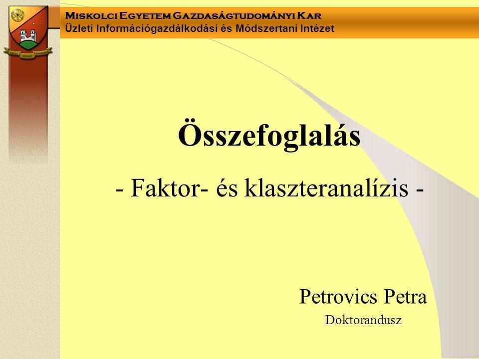 Miskolci Egyetem Gazdaságtudományi Kar Üzleti Információgazdálkodási és Módszertani Intézet 3.