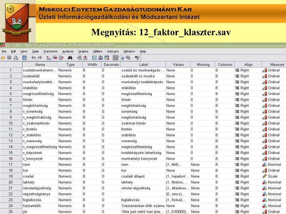 Miskolci Egyetem Gazdaságtudományi Kar Üzleti Információgazdálkodási és Módszertani Intézet Megnyitás: 12_faktor_klaszter.sav
