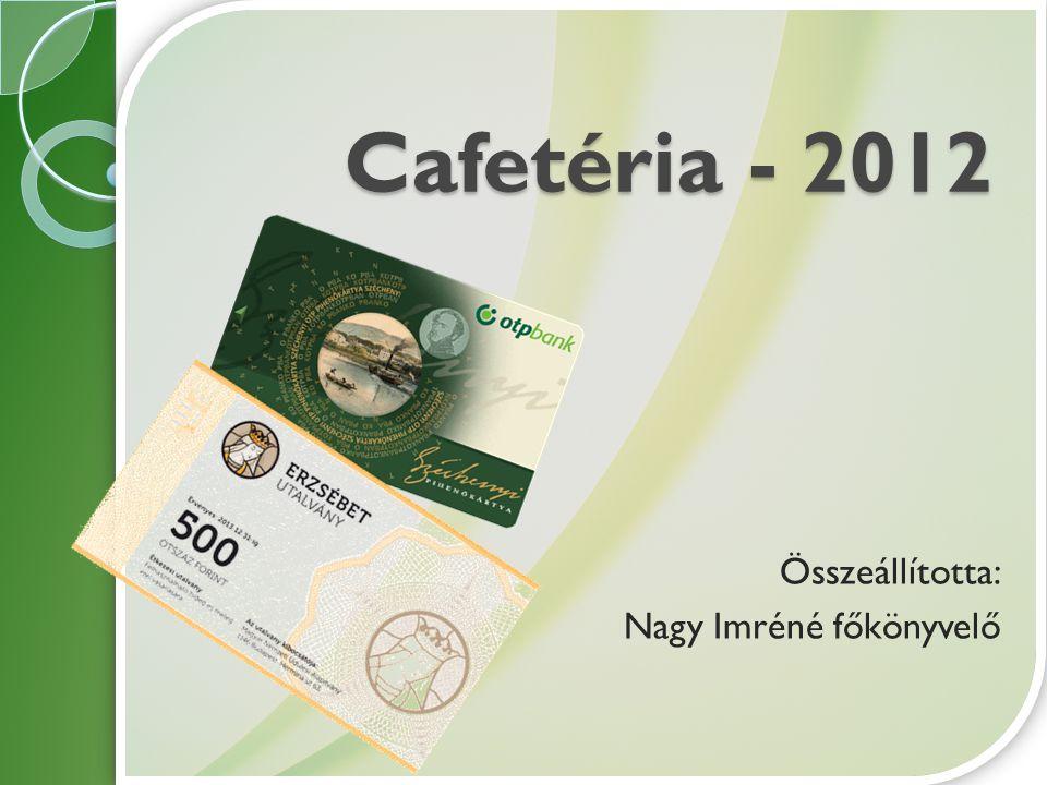 Cafetéria - 2012 Összeállította: Nagy Imréné főkönyvelő