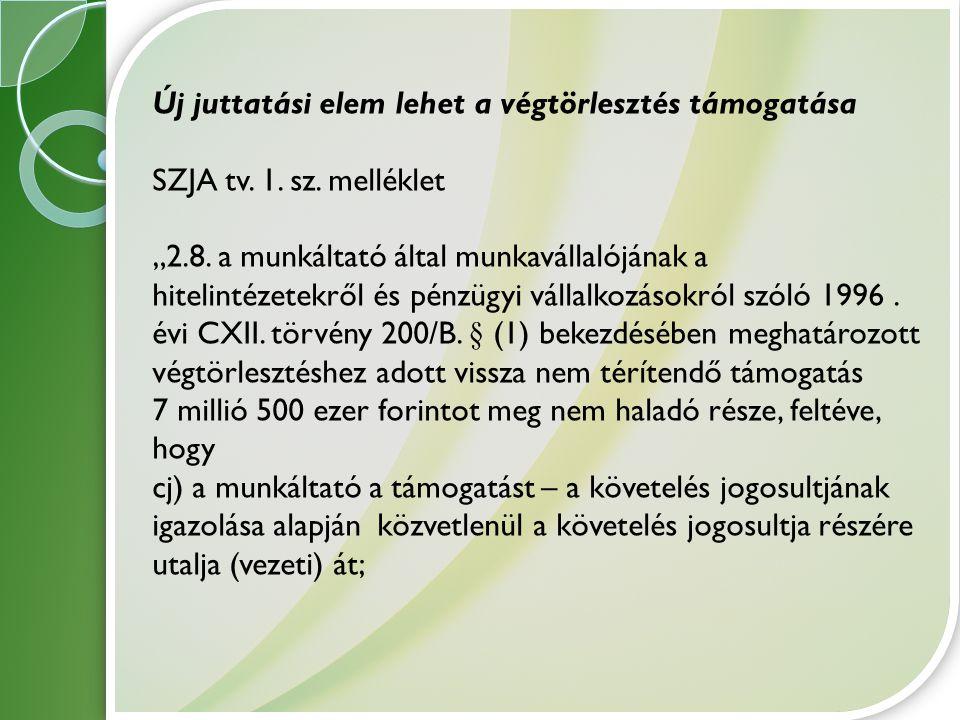 """Új juttatási elem lehet a végtörlesztés támogatása SZJA tv. 1. sz. melléklet """"2.8. a munkáltató által munkavállalójának a hitelintézetekről és pénzügy"""