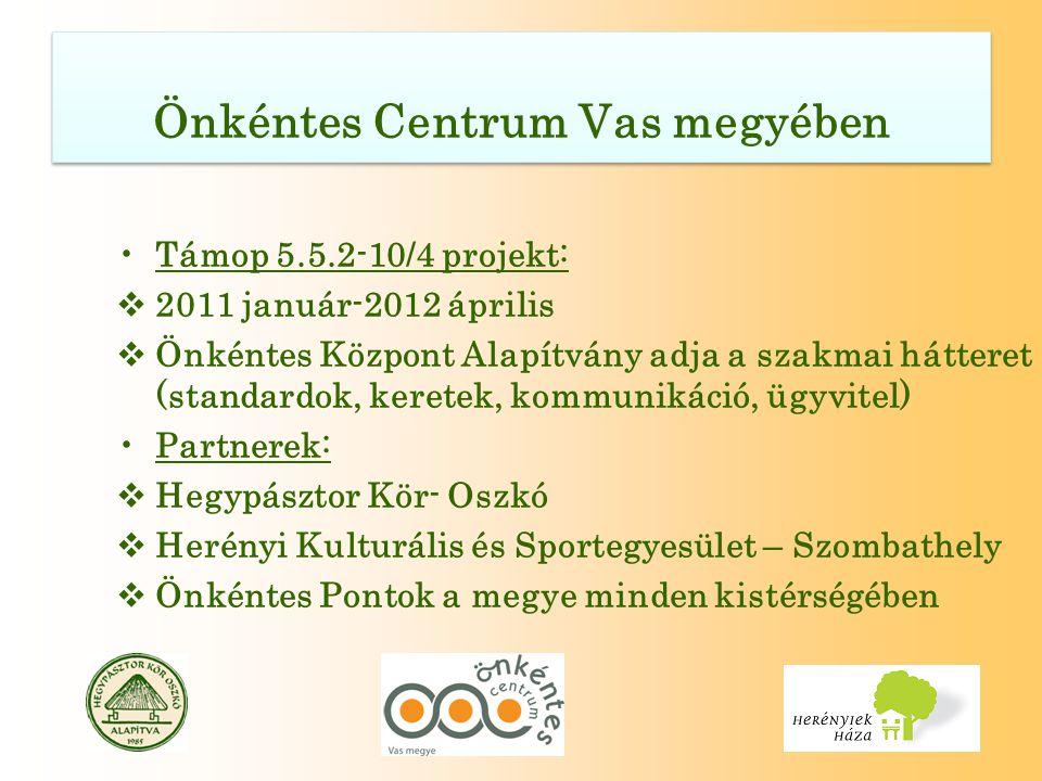 •Támop 5.5.2-10/4 projekt:  2011 január-2012 április  Önkéntes Központ Alapítvány adja a szakmai hátteret (standardok, keretek, kommunikáció, ügyvitel) •Partnerek:  Hegypásztor Kör- Oszkó  Herényi Kulturális és Sportegyesület – Szombathely  Önkéntes Pontok a megye minden kistérségében