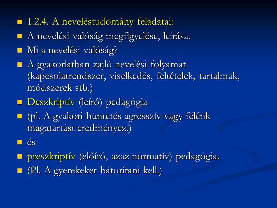  1.2.4.A neveléstudomány feladatai:  A nevelési valóság megfigyelése, leírása.