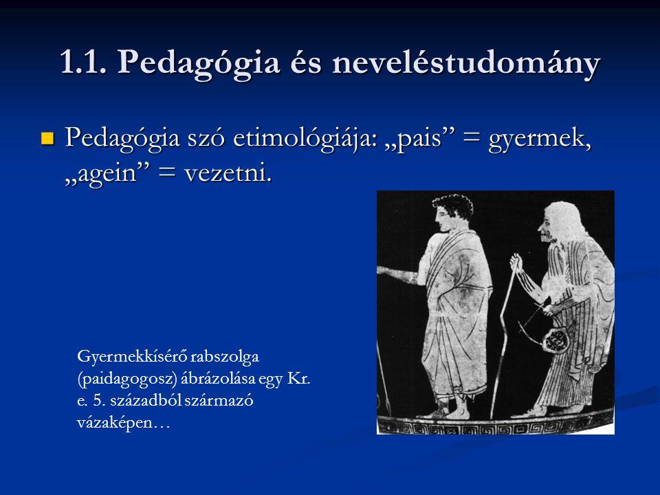 """1.1. Pedagógia és neveléstudomány  Pedagógia szó etimológiája: """"pais"""" = gyermek, """"agein"""" = vezetni. Gyermekkísérő rabszolga (paidagogosz) ábrázolása"""