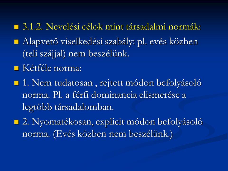  3.1.2.Nevelési célok mint társadalmi normák:  Alapvető viselkedési szabály: pl.