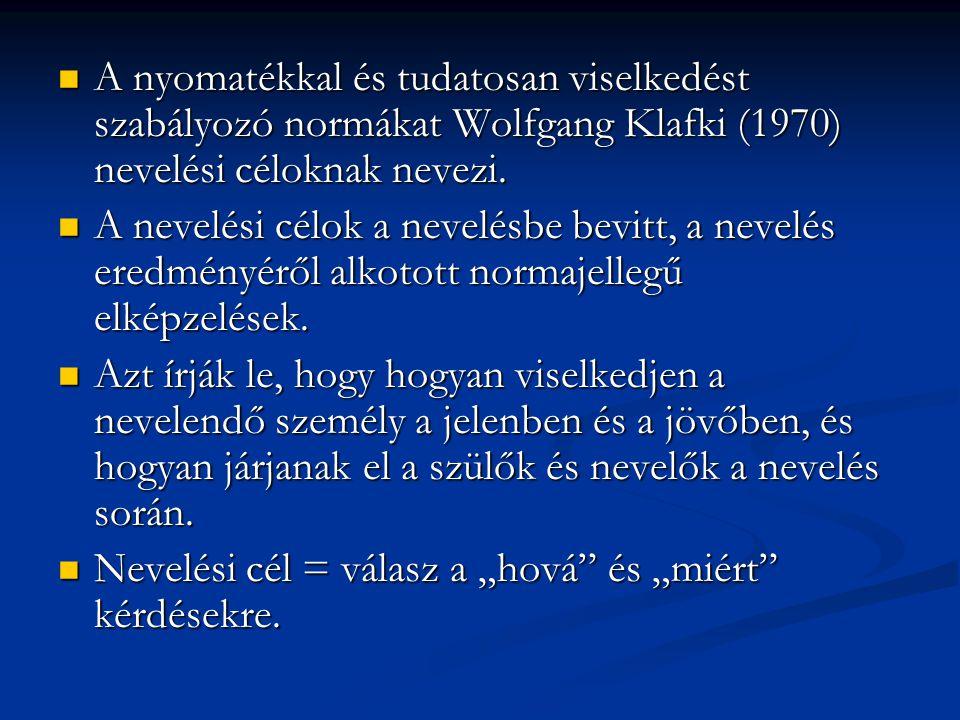 A nyomatékkal és tudatosan viselkedést szabályozó normákat Wolfgang Klafki (1970) nevelési céloknak nevezi.  A nevelési célok a nevelésbe bevitt, a