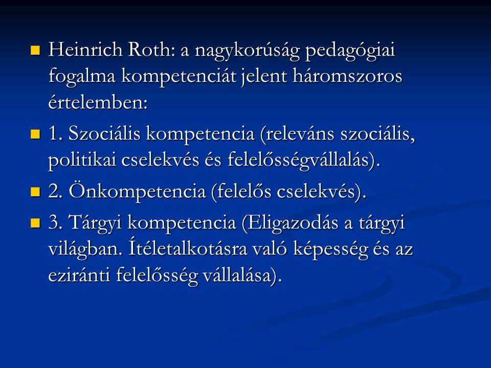  Heinrich Roth: a nagykorúság pedagógiai fogalma kompetenciát jelent háromszoros értelemben:  1. Szociális kompetencia (releváns szociális, politika