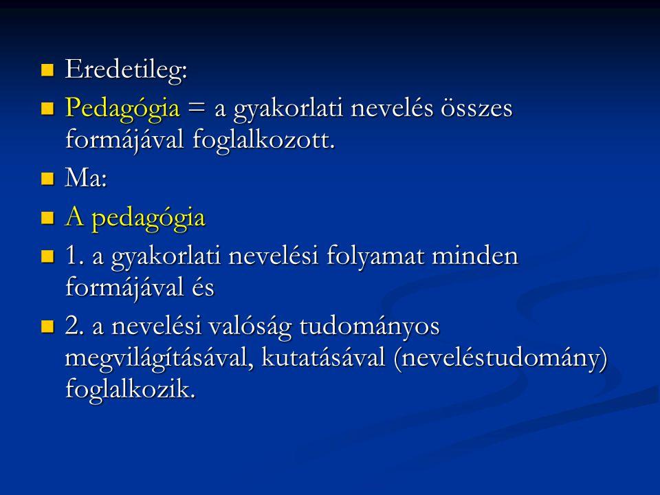  A pedagógia tudományágai (egy lehetséges felosztás):  - általános pedagógia,  - pedagógiatörténet,  - iskolapedagógia,  - szakképzések pedagógiája,  - a szabadidő pedagógiája,  - szociálpedagógia,  - gyógypedgógia,  - a felnőttoktatás pedagógiája (andragógia),  - szexuálpedagógia.