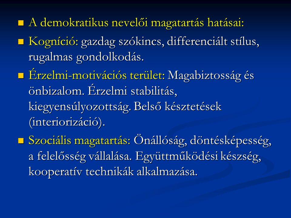  A demokratikus nevelői magatartás hatásai:  Kogníció: gazdag szókincs, differenciált stílus, rugalmas gondolkodás.  Érzelmi-motivációs terület: Ma