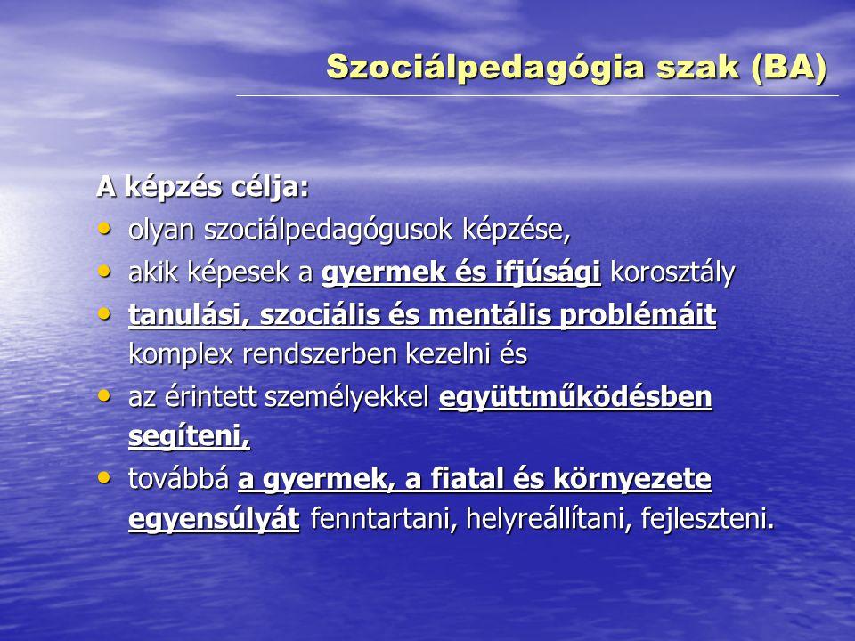 A képzés tartalma: • A képzés multidiszciplináris ismereteket nyújt, • valamint azokat a képességeket, készségeket fejleszti és értékeket közvetíti, • amelyek segítségével a szociálpedagógusok hatékonyan működhetnek közre a –szociális problémák megelőzésében, megoldásában –és az érintettek társadalmi integrációjának az elősegítésében.
