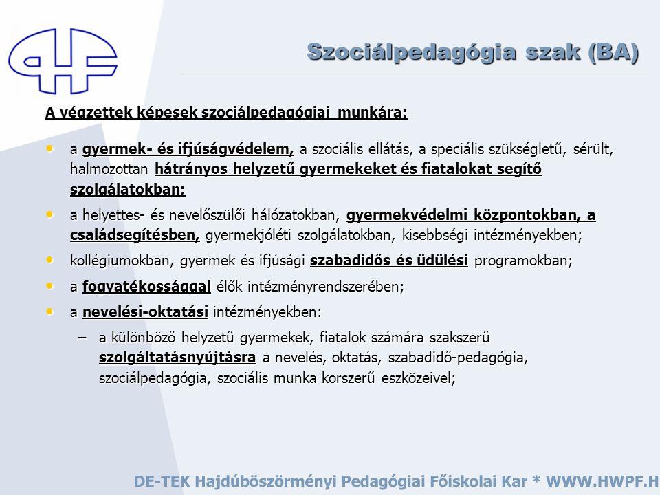 Mit fogunk tanulni? Szociálpedagógia szak (BA)