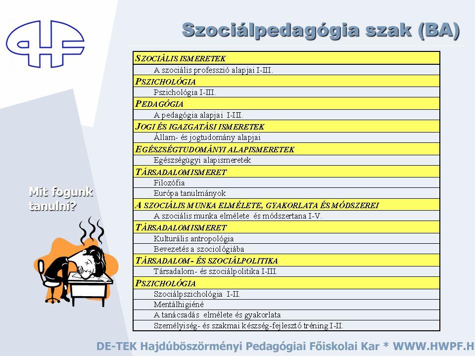továbbá … Szociálpedagógia szak (BA) Mit fogunk tanulni?