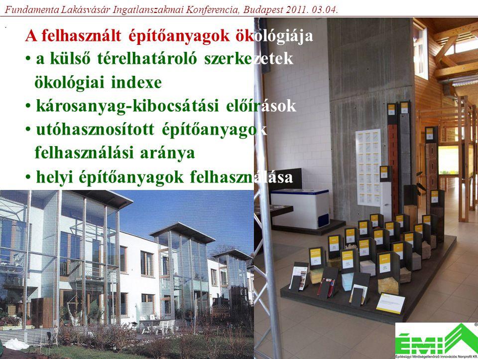 A felhasznált építőanyagok ökológiája • a külső térelhatároló szerkezetek ökológiai indexe • károsanyag-kibocsátási előírások • utóhasznosított építőanyagok felhasználási aránya • helyi építőanyagok felhasználása Fundamenta Lakásvásár Ingatlanszakmai Konferencia, Budapest 2011.