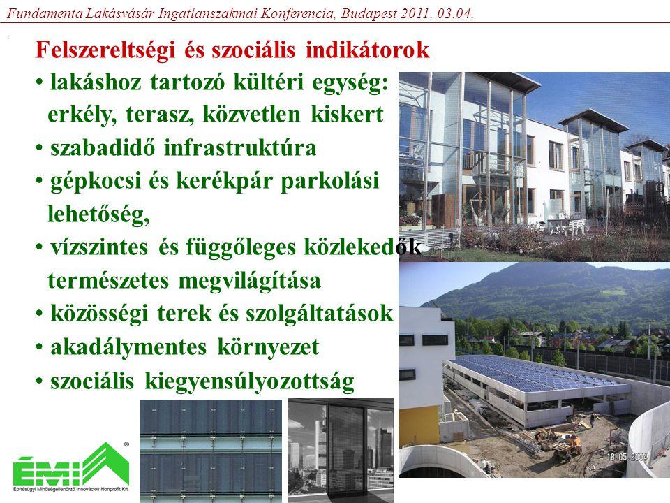 Felszereltségi és szociális indikátorok • lakáshoz tartozó kültéri egység: erkély, terasz, közvetlen kiskert • szabadidő infrastruktúra • gépkocsi és kerékpár parkolási lehetőség, • vízszintes és függőleges közlekedők természetes megvilágítása • közösségi terek és szolgáltatások • akadálymentes környezet • szociális kiegyensúlyozottság Fundamenta Lakásvásár Ingatlanszakmai Konferencia, Budapest 2011.