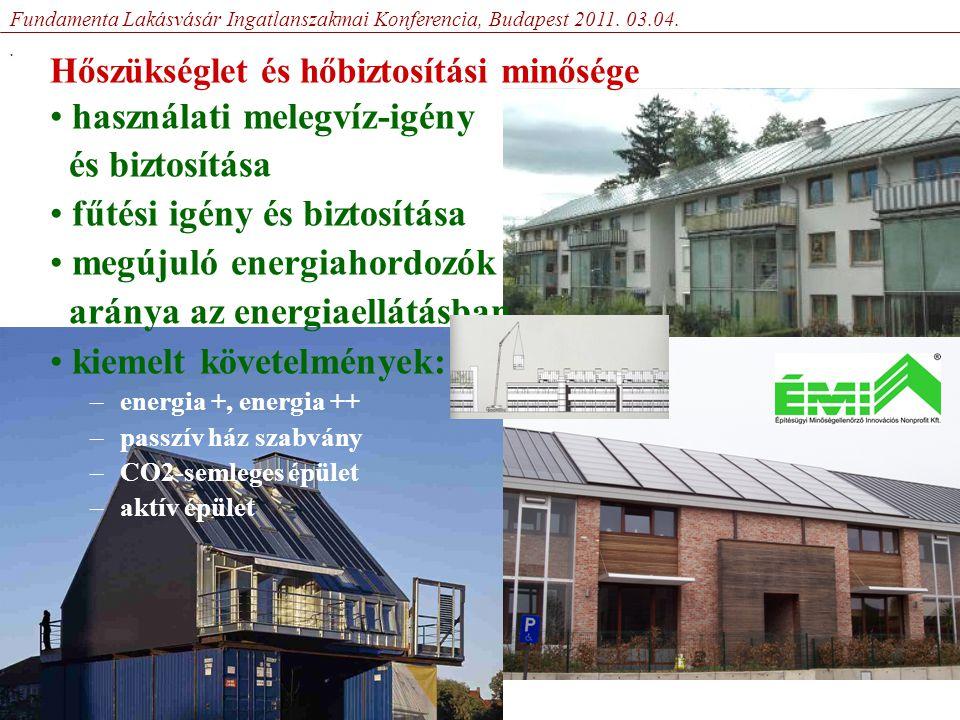 Hőszükséglet és hőbiztosítási minősége • használati melegvíz-igény és biztosítása • fűtési igény és biztosítása • megújuló energiahordozók aránya az energiaellátásban • kiemelt követelmények: –energia +, energia ++ –passzív ház szabvány –CO2-semleges épület –aktív épület Fundamenta Lakásvásár Ingatlanszakmai Konferencia, Budapest 2011.