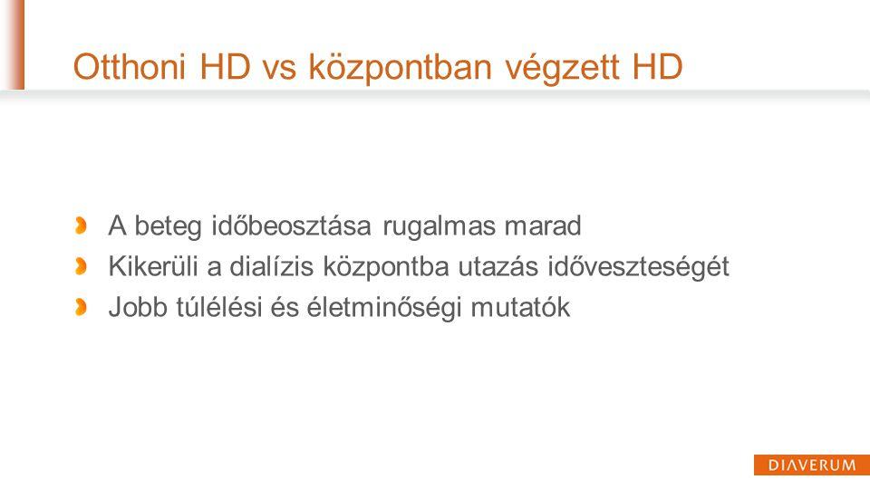 Otthoni HD vs központban végzett HD A beteg időbeosztása rugalmas marad Kikerüli a dialízis központba utazás időveszteségét Jobb túlélési és életminős