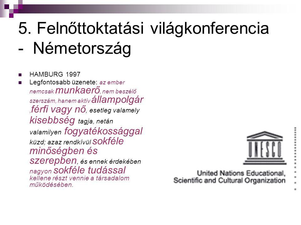 5. Felnőttoktatási világkonferencia - Németország  HAMBURG 1997  Legfontosabb üzenete: az ember nemcsak munkaerő, nem beszélő szerszám, hanem aktív
