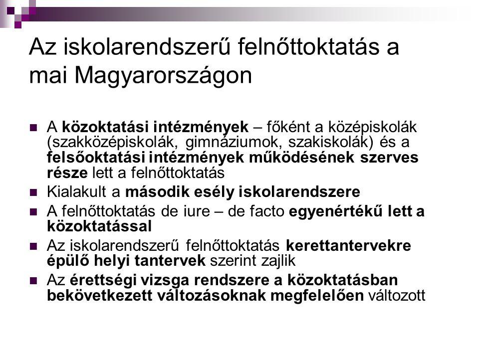 Az iskolarendszerű felnőttoktatás a mai Magyarországon  A közoktatási intézmények – főként a középiskolák (szakközépiskolák, gimnáziumok, szakiskolák) és a felsőoktatási intézmények működésének szerves része lett a felnőttoktatás  Kialakult a második esély iskolarendszere  A felnőttoktatás de iure – de facto egyenértékű lett a közoktatással  Az iskolarendszerű felnőttoktatás kerettantervekre épülő helyi tantervek szerint zajlik  Az érettségi vizsga rendszere a közoktatásban bekövetkezett változásoknak megfelelően változott