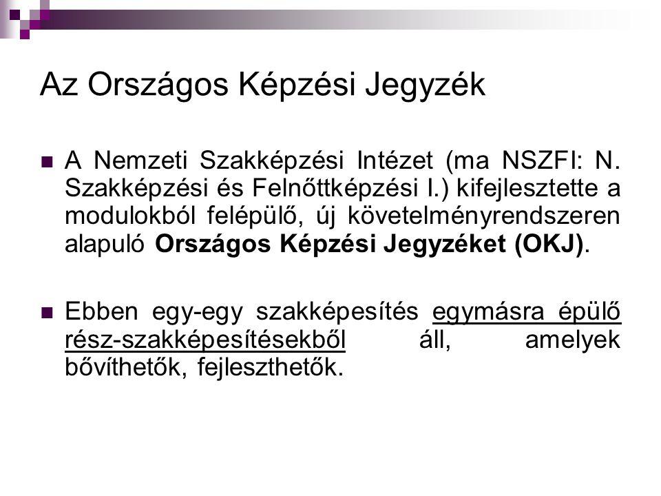 Az Országos Képzési Jegyzék  A Nemzeti Szakképzési Intézet (ma NSZFI: N.