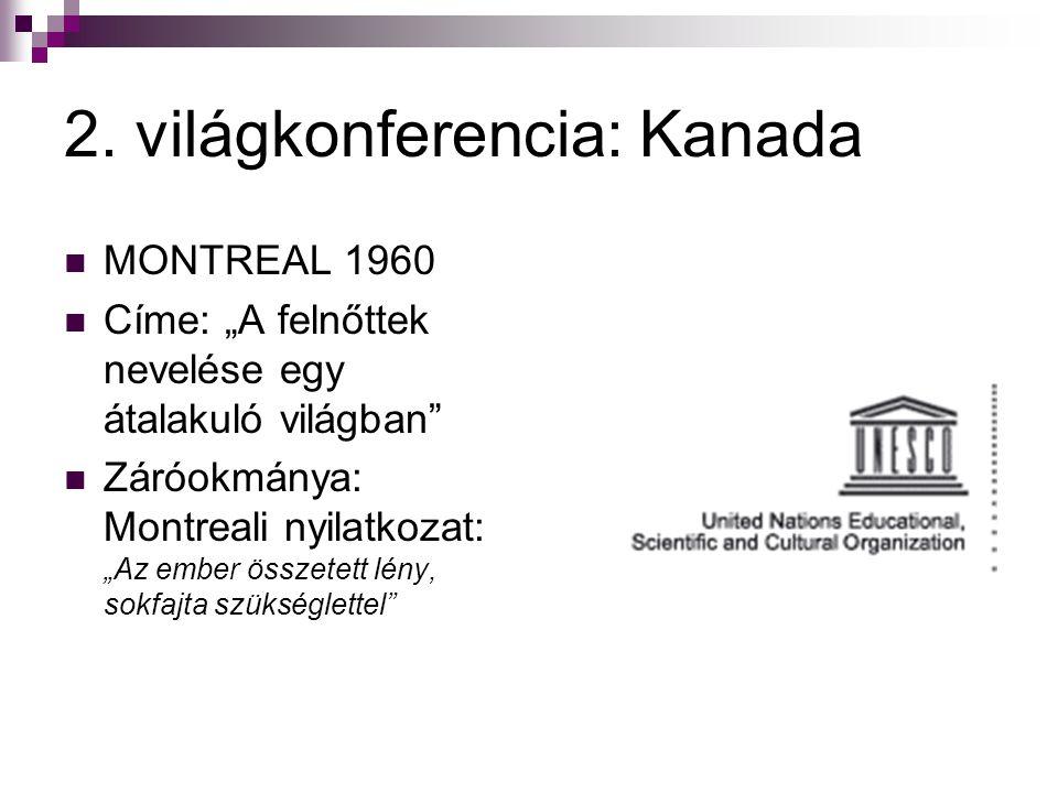"""2. világkonferencia: Kanada  MONTREAL 1960  Címe: """"A felnőttek nevelése egy átalakuló világban""""  Záróokmánya: Montreali nyilatkozat: """"Az ember össz"""