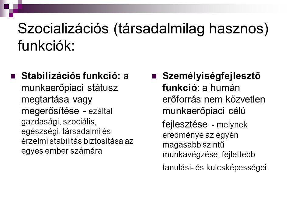 Szocializációs (társadalmilag hasznos) funkciók:  Stabilizációs funkció: a munkaerőpiaci státusz megtartása vagy megerősítése - ezáltal gazdasági, szociális, egészségi, társadalmi és érzelmi stabilitás biztosítása az egyes ember számára  Személyiségfejlesztő funkció: a humán erőforrás nem közvetlen munkaerőpiaci célú fejlesztése - melynek eredménye az egyén magasabb szintű munkavégzése, fejlettebb tanulási- és kulcsképességei.