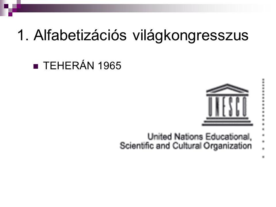 1. Alfabetizációs világkongresszus  TEHERÁN 1965