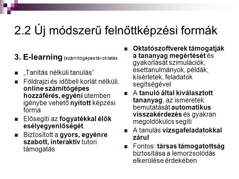 """2.2 Új módszerű felnőttképzési formák 3. E-learning (számítógépes távoktatás  """"Tanítás nélküli tanulás""""  Földrajzi és időbeli korlát nélküli, online"""