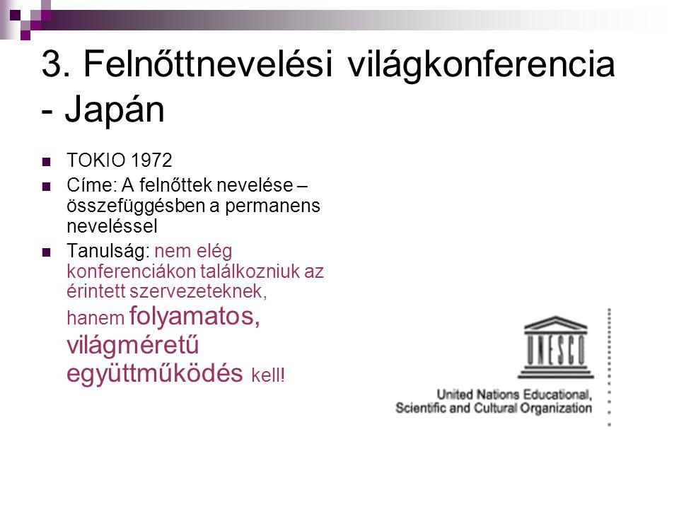 3. Felnőttnevelési világkonferencia - Japán  TOKIO 1972  Címe: A felnőttek nevelése – összefüggésben a permanens neveléssel  Tanulság: nem elég kon