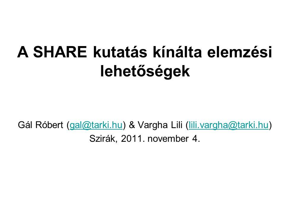 A SHARE kutatás kínálta elemzési lehetőségek Gál Róbert (gal@tarki.hu) & Vargha Lili (lili.vargha@tarki.hu)gal@tarki.hulili.vargha@tarki.hu Szirák, 2011.