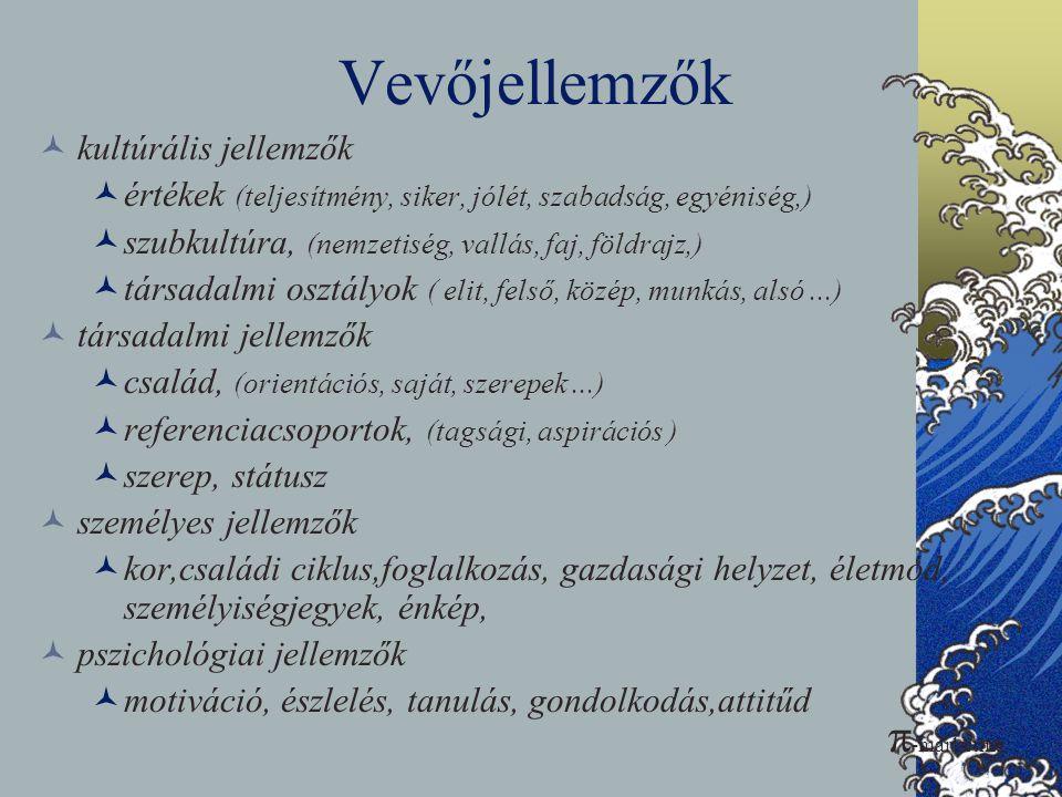 Vevőjellemzők  kultúrális jellemzők  értékek (teljesítmény, siker, jólét, szabadság, egyéniség,)  szubkultúra, (nemzetiség, vallás, faj, földrajz,)