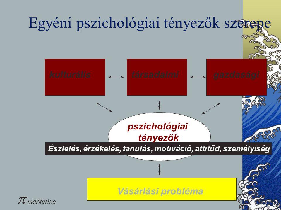 Egyéni pszichológiai tényezők szerepe kulturálistársadalmigazdasági pszichológiai tényezők Észlelés, érzékelés, tanulás, motiváció, attitűd, személyis