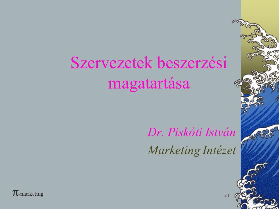21 Szervezetek beszerzési magatartása Dr. Piskóti István Marketing Intézet  -marketing