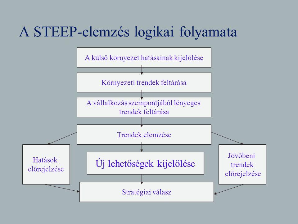 A STEEP-elemzés logikai folyamata A külső környezet hatásainak kijelölése A vállalkozás szempontjából lényeges trendek feltárása Trendek elemzése Stra