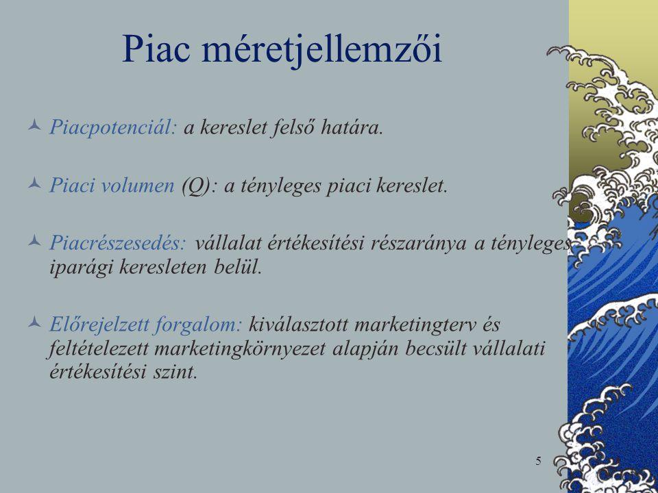 5 Piac méretjellemzői  Piacpotenciál: a kereslet felső határa.  Piaci volumen (Q): a tényleges piaci kereslet.  Piacrészesedés: vállalat értékesíté