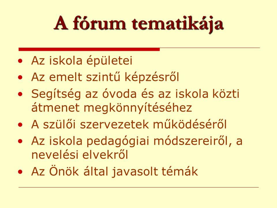 A fórum tematikája •Az iskola épületei •Az emelt szintű képzésről •Segítség az óvoda és az iskola közti átmenet megkönnyítéséhez •A szülői szervezetek