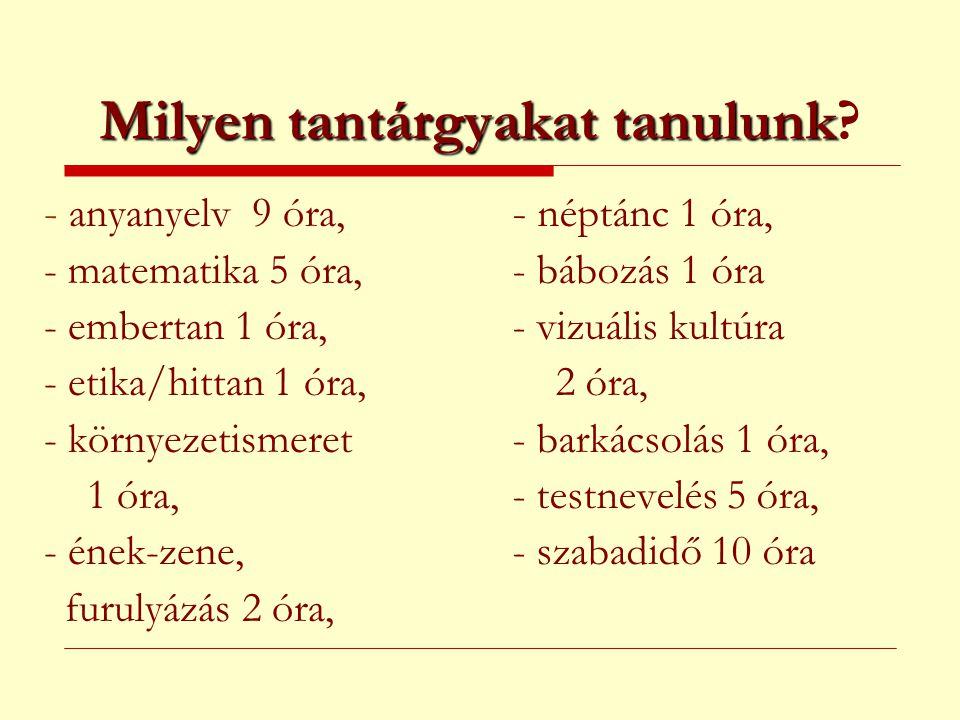 Milyen tantárgyakat tanulunk Milyen tantárgyakat tanulunk? - anyanyelv 9 óra, - matematika 5 óra, - embertan 1 óra, - etika/hittan 1 óra, - környezeti