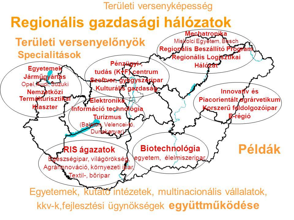 Regionális gazdasági hálózatok RIS ágazatok Egészségipar, világörökség, Agrárinnováció, környezeti ipar, Textil-, bőripar Biotechnológia egyetem, élelmiszeripar.
