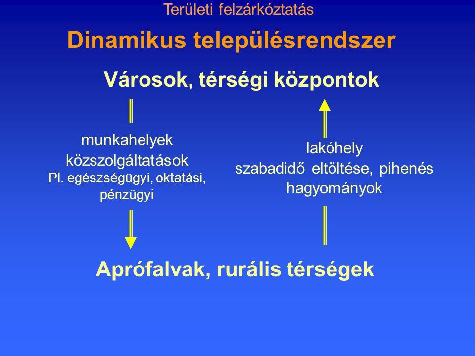 Dinamikus településrendszer munkahelyek közszolgáltatások Pl.
