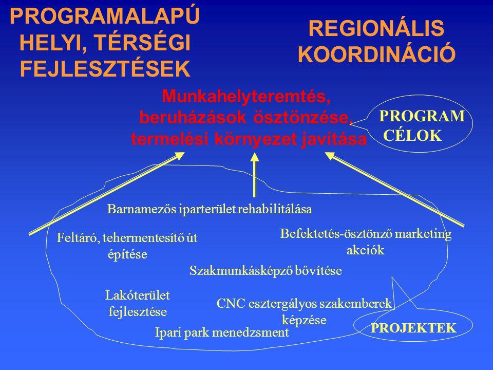 Barnamezős iparterület rehabilitálása Feltáró, tehermentesítő út építése Szakmunkásképző bővítése CNC esztergályos szakemberek képzése Befektetés-ösztönző marketing akciók Lakóterület fejlesztése Munkahelyteremtés, beruházások ösztönzése, termelési környezet javítása PROGRAM CÉLOK REGIONÁLIS KOORDINÁCIÓ PROJEKTEK Ipari park menedzsment PROGRAMALAPÚ HELYI, TÉRSÉGI FEJLESZTÉSEK