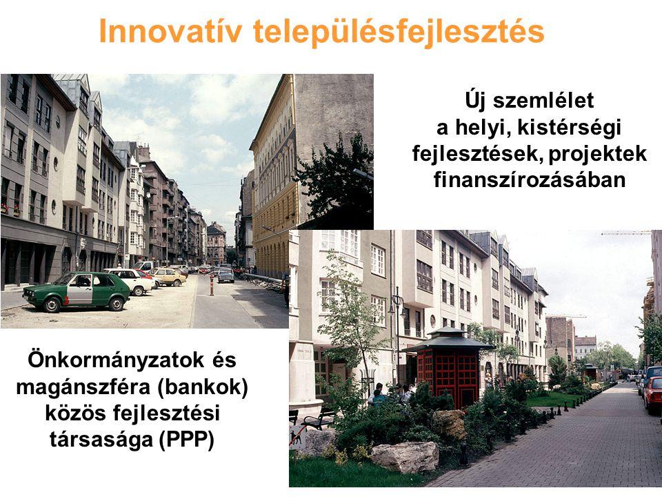 Innovatív településfejlesztés Önkormányzatok és magánszféra (bankok) közös fejlesztési társasága (PPP) Új szemlélet a helyi, kistérségi fejlesztések, projektek finanszírozásában