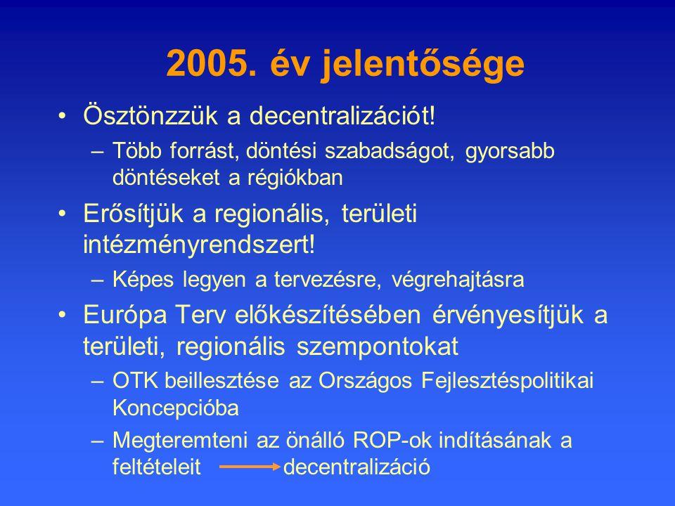 2005. év jelentősége •Ösztönzzük a decentralizációt.