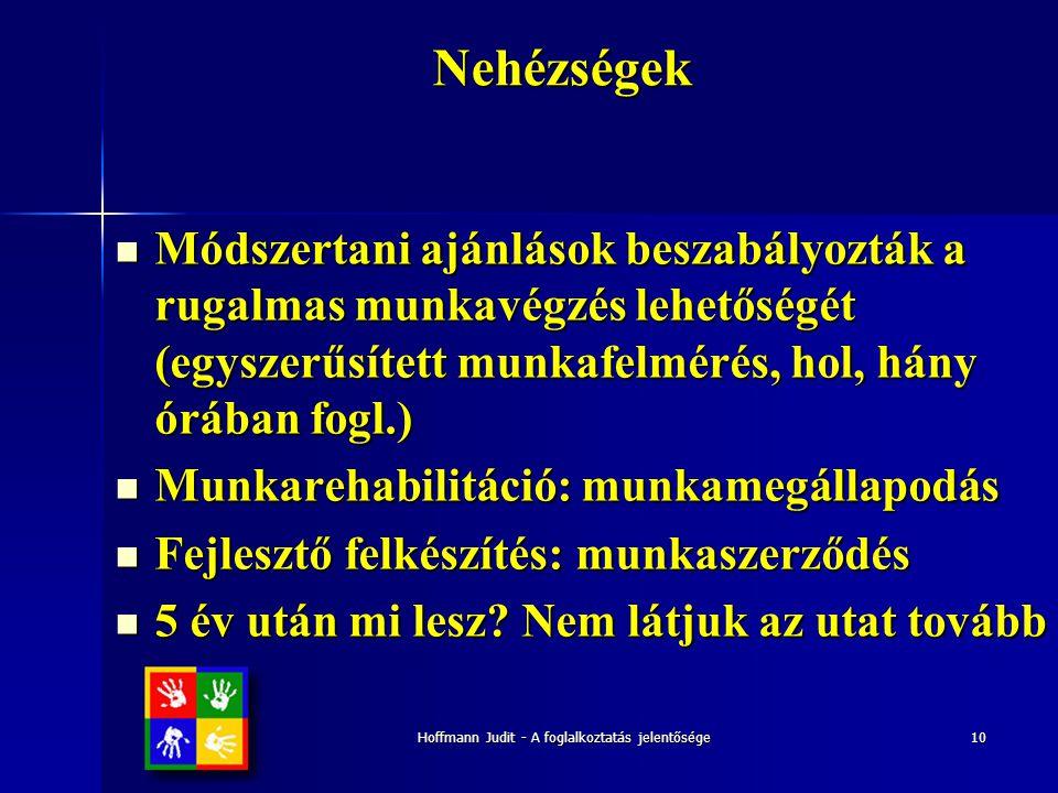 Hoffmann Judit - A foglalkoztatás jelentősége10Nehézségek  Módszertani ajánlások beszabályozták a rugalmas munkavégzés lehetőségét (egyszerűsített mu